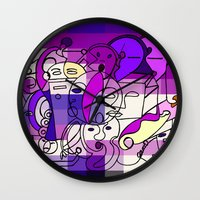 Purple White Commotion Wall Clock