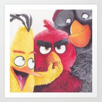 Angry Birdpoint Pen Drawing  Art Print