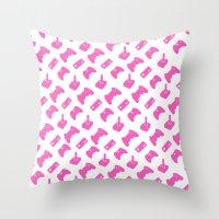 Gamer  - Pink on White Throw Pillow