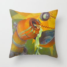 DickBot Attacked by BitchBot Throw Pillow