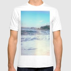 California Sunshine Waves Mens Fitted Tee SMALL White