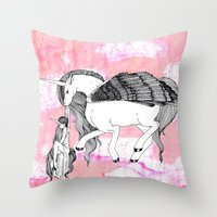 Unicorn and Her Foal Throw Pillow