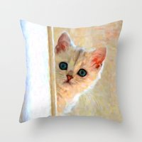 Kitten By The Window - Painting Style Throw Pillow