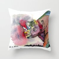 I'd Rather Be A Rhino Throw Pillow