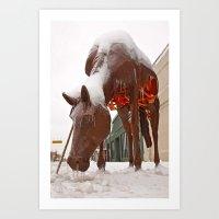 Frozen horse Art Print
