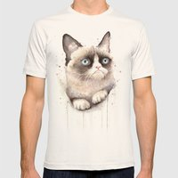 Grumpy Watercolor Cat Mens Fitted Tee Natural SMALL