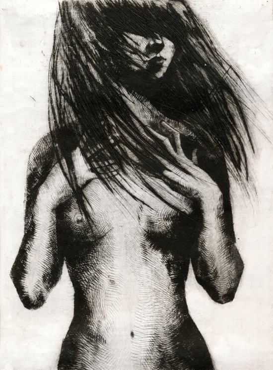 Girl Etching 4 Canvas Print