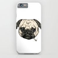 iPhone Cases featuring Smoking Pug by Beth Zimmerman Illustration