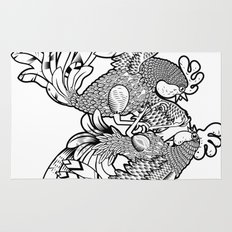 Rooster BW Rug