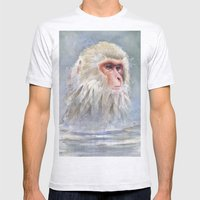 Snow Monkey Watercolor Cute Animal Portrait Mens Fitted Tee Ash Grey SMALL