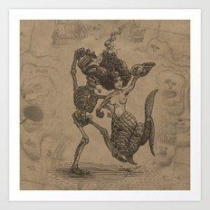 Dancing Mermaid and Skeleton Art Print