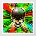 Crystal Skull on Psychedelic Flames Art Print