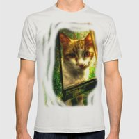 Daisy Cat Mens Fitted Tee Silver SMALL