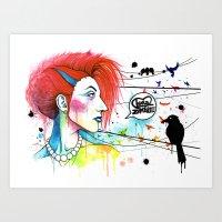 Lora Zombie Art Print