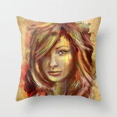 Olivia Wilde Digital Painting Portrait Throw Pillow