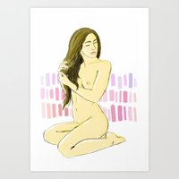 Nude With Pink And Purpl… Art Print