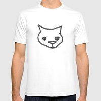 Concerned Cat Mens Fitted Tee White SMALL