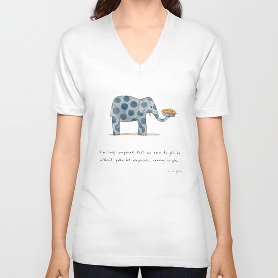 polka dot elephants serving us pie V-neck T-shirt