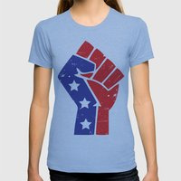 Revoltion Party Fist Womens Fitted Tee Athletic Blue SMALL
