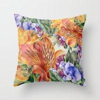 Alstroemeria & Lathyrus Throw Pillow