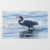 Great Egret Catch Rug