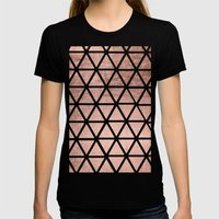Geometric faux rose gold foil triangles pattern Womens Fitted Tee Black SMALL