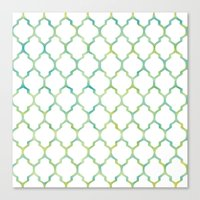 Green, Yellow & Turquoise Lantern Arabesque Pattern Canvas Print