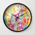 Colorful Painterly Spring Floral Abstract Wall Clock