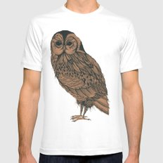 Heaton Owl White Mens Fitted Tee SMALL