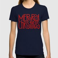 Merry Christmas Text red Womens Fitted Tee Navy SMALL
