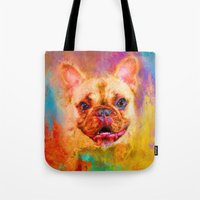 Jazzy French Bulldog Colorful Dog Art by Jai Johnson Tote Bag