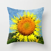 Sunflowers in Suessland Throw Pillow