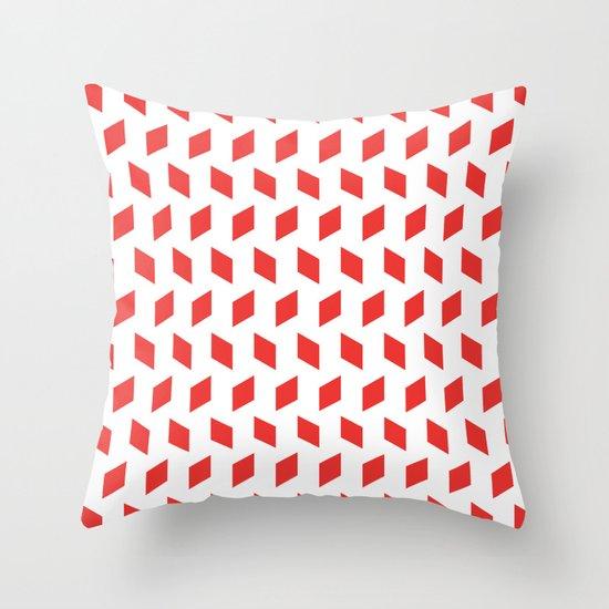 rhombus bomb in poppy red Throw Pillow