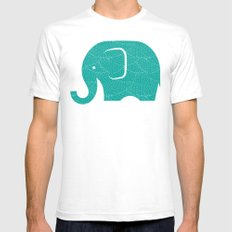 Fun at the Zoo: Elephant SMALL Mens Fitted Tee White