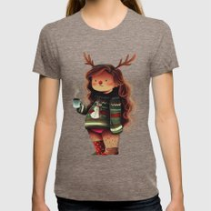 lazy holidays Womens Fitted Tee Tri-Coffee SMALL