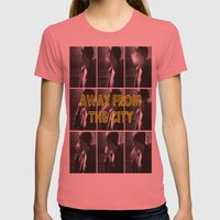 AWAY FROM THE CITY Womens Fitted Tee Pomegranate SMALL