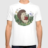 Hedgehog Reading A Book Mens Fitted Tee White SMALL
