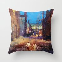 Lovers of the night Throw Pillow