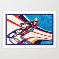 retro track cycling poster print G Force Art Print