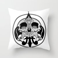 skull and pen Throw Pillow