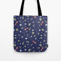 Floral with Birds on blue Tote Bag