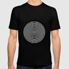Simple Modern Stripes Circular Print SMALL Mens Fitted Tee Black