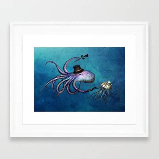 Underwater Love // octopus jellyfish Framed Art Print