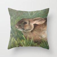 Shy Rabbit Throw Pillow
