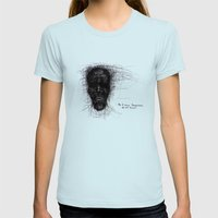 Scribble Face Womens Fitted Tee Light Blue SMALL