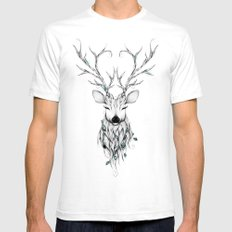 Poetic Deer SMALL Mens Fitted Tee White