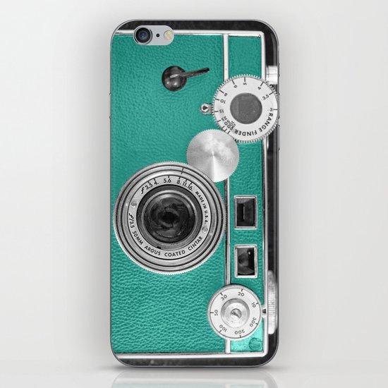 Teal retro vintage phone iPhone & iPod Skin