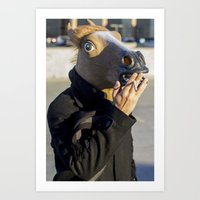 Smoking Horseman  Art Print