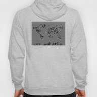 World Map Floral Black A… Hoody
