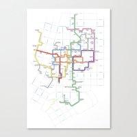 Minneapolis Skyway Map Canvas Print
